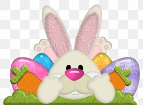 Easter Bunny With Eggs Transparent Clipart - Easter Bunny Clip Art PNG