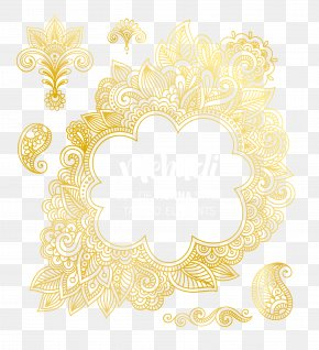 Abstract Gold Pattern Shading Vector Material - Text Picture Frame Floral Design Yellow Pattern PNG
