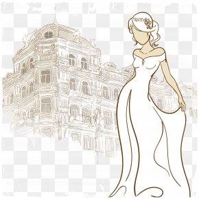 Vector Wedding Dress Bride - Wedding Dress Bride Illustration PNG