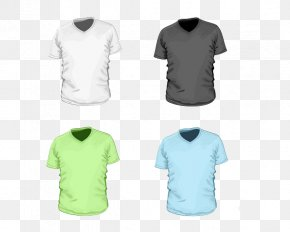 Colored T-shirt Template - T-shirt Clothing Neckline Sleeve PNG