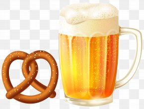 Beer Mug And Pretzel Clip Art Image - Beer Glassware Root Beer Clip Art PNG