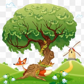 Vector Tree Fox - Tree Cartoon Illustration PNG