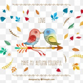 Cartoon Pair Of Lovebirds - Love Heart PNG