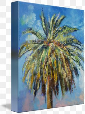 Date Tree - Date Palm Painting Canary Islands Canvas Print PNG