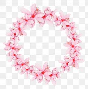 Pink Flower Garland - Wreath Pink Garland Crown PNG