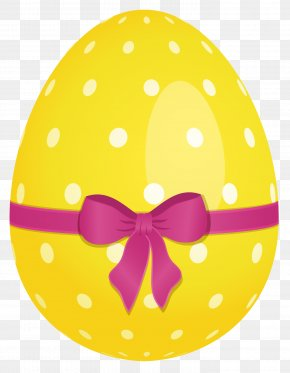 Yellow Dotted Easter Egg With Pink Bow Clipart - Easter Egg Easter Basket Clip Art PNG