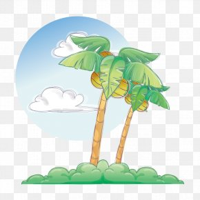 Edge Of The Beach Tree - Cartoon Summer Illustration PNG