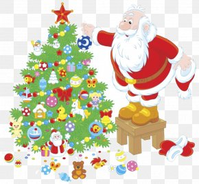 Santa Claus And Christmas Tree Vector Material - Santa Claus Christmas Tree Illustration PNG