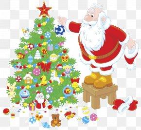 Santa Claus And Christmas Tree Vector Material - Santa Claus Christmas Tree Illustration PNG