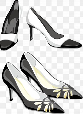 Black And White High Heels - Clothing Accessories Clip Art PNG