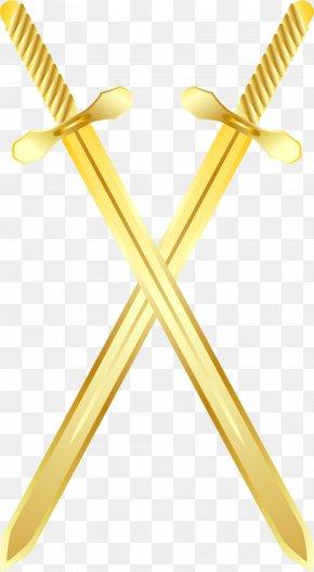 Vector Painted Gold Sword - Sword Euclidean Vector Computer File PNG