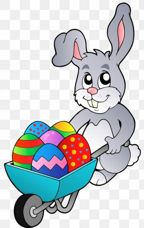 Transparent Easter Bunny With Egg Cart Clipart Picture - Easter Bunny Easter Egg Rabbit Hare PNG