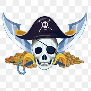 Vector Pirate Gold Coins - Royalty-free Piracy Illustration PNG
