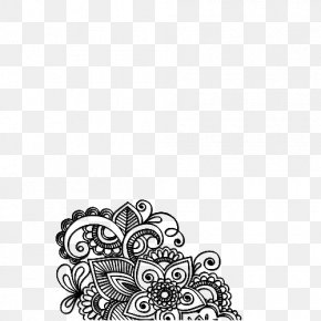 Flower Black - Tattoo Mehndi Henna Sticker PNG