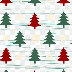 Red And Green Christmas Tree Tile Background - Christmas Tree Snowflake Pattern PNG
