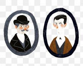 Retro Man - Sherlock Holmes Doctor Watson Professor Moriarty Drawing Illustration PNG