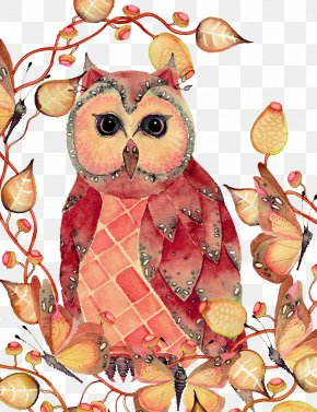 Owl With Leaves - Owl Watercolor Painting Drawing Sketch PNG