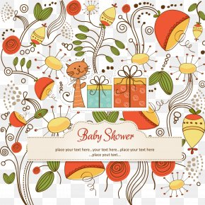 Cartoon Cat Infant Welcome Party Card Vector - Floral Design Stock Photography Pattern PNG