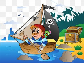 Rowing Island - Royalty-free Piracy Cartoon Clip Art PNG
