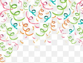 Party Background Color Ribbon Vector Material - Party Ribbon Confetti Paper PNG