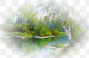 Fantasy Winter Background - Landscape Painting Embroidery Cross-stitch Watercolor Painting PNG