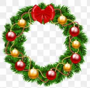 Christmas Wreath Clipart Image - Garland Christmas Wreath Clip Art PNG