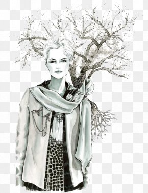 Sketch Beautiful Female Deep Forest Illustrator - Drawing Illustrator Fashion Watercolor Painting Illustration PNG