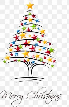 Vector Pentagram Christmas Tree - Royal Christmas Message Christmas Card Greeting Card PNG