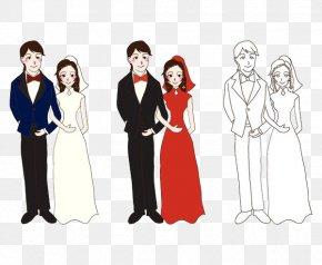 Dressed In Red Wedding Dress,Bride - Bridegroom Wedding Illustration PNG