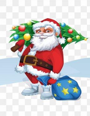Santa Claus And Christmas Tree Vector - Santa Claus Christmas Tree Euclidean Vector PNG
