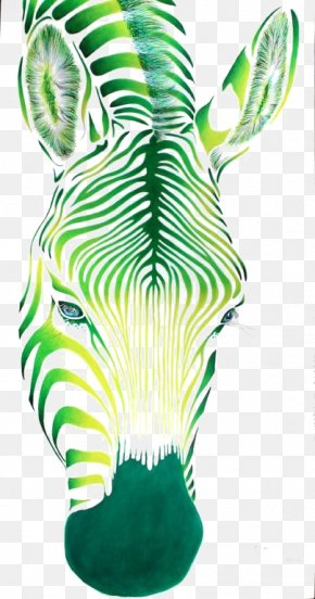 Zebra - Green Painting Drawing Color PNG