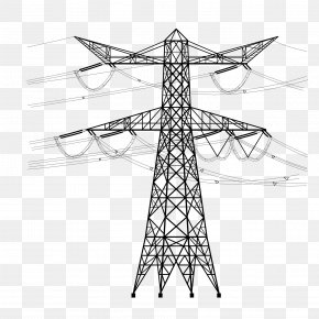 Vector Cable High Voltage Line Tower - Electricity Utility Pole Overhead Power Line High Voltage Electrical Cable PNG