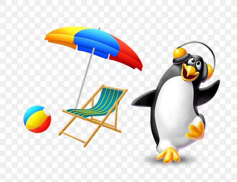 Penguin Sun Umbrella Material Download, PNG, 1085x833px, Watercolor, Cartoon, Flower, Frame, Heart Download Free