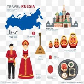 Flat Russia Landmarks - Russia Map Illustration PNG