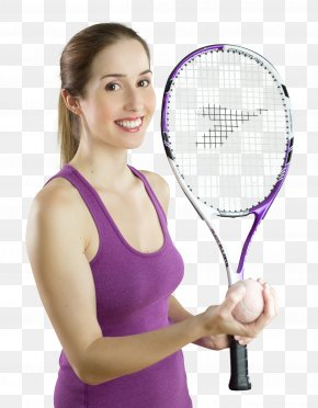 Smiling Woman With A Tennis Racket - Tennis Racket Strings PNG