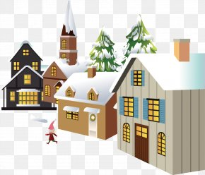 Creative Winter Snow Winter House - Snowman Winter Illustration PNG