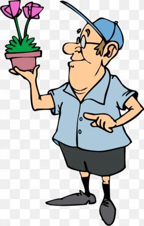 Cartoon Man Holding A Flower Pot - Gardening Clip Art PNG