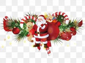 Santa Claus Carrying A Gift - Santa Claus Christmas Ornament Gift PNG