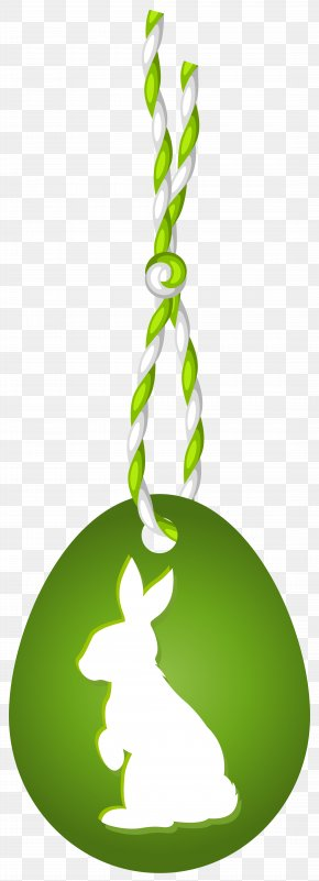 Green Easter Hanging Egg With Bunny Clip Art Image - Easter Egg Clip Art PNG