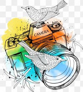 Birds Vector On The Lens - Camera Lens Illustration PNG