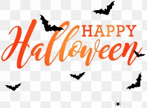 Happy Halloween With Bats Clip Art Image - Halloween Clip Art PNG