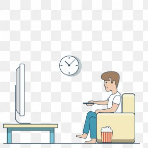 Man Sitting On The Couch Watching TV - Television Drawing PNG