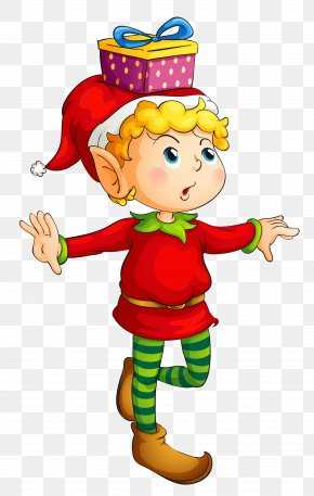 Christmas Elf With Gift Picture - Rudolph Santa Claus Christmas Elf Clip Art PNG