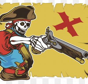 Skeleton Skull Pirate - Piracy Treasure Map Clip Art PNG