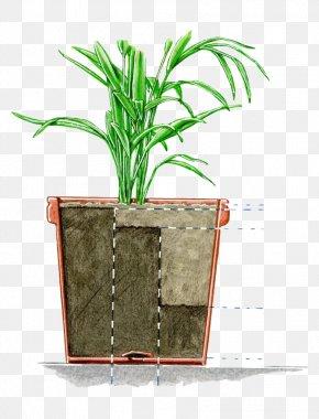 Hand Painted Flower Pot Profile - Earth Soil Horizon Flowerpot PNG