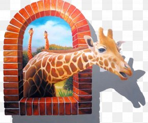 Broken Windows Out Of The Giraffe - Wall Decal Mural Painting Sticker PNG