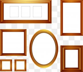 Vector Collection Of Hand-painted Gold Frame Picture Frame - Computer Graphics PNG