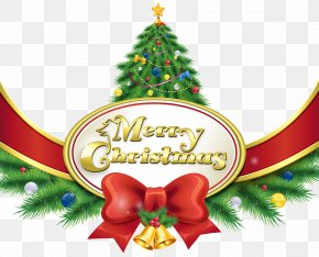Merry Christmas With Tree And Bow Clipart Image - Christmas Eve Santa Claus Merry Christmas, Happy Holidays PNG