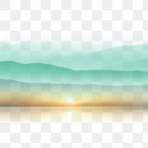 Sunset Mountain - Computer Graphics PNG