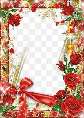Red Flower Frame Transparent Background - Picture Frame Flower Rose PNG